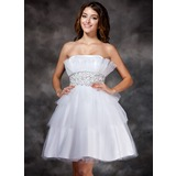 A-Line/Princess Scalloped Neck Knee-Length Tulle Homecoming Dress With Ruffle Beading Sequins