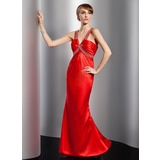 Trumpet/Mermaid V-neck Floor-Length Charmeuse Evening Dress With Ruffle Beading