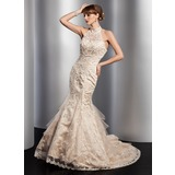 Trumpet/Mermaid High Neck Chapel Train Satin Tulle Wedding Dress With Lace Beading Sequins
