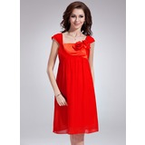 Empire Square Neckline Knee-Length Chiffon Charmeuse Bridesmaid Dress With Flower(s)