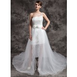 A-Line/Princess One-Shoulder Asymmetrical Organza Satin Sequined Wedding Dress With Beading Bow(s)