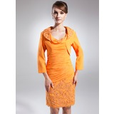 Sheath/Column Cowl Neck Knee-Length Chiffon Mother of the Bride Dress With Ruffle Appliques Lace Sequins
