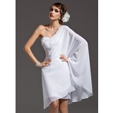 Sheath One-Shoulder Asymmetrical Chiffon Holiday Dress With Beading