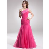 Mermaid One-Shoulder Floor-Length Satin Tulle Prom Dress With Ruffle Beading