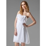 Empire Sweetheart Short/Mini Chiffon Bridesmaid Dress With Ruffle Flower(s)