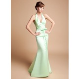 Trumpet/Mermaid Halter Sweep Train Satin Bridesmaid Dress With Ruffle Bow(s)