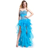 A-Line/Princess Sweetheart Asymmetrical Organza Charmeuse Prom Dress With Beading