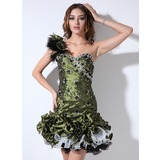 Sheath One-Shoulder Short/Mini Taffeta Organza Homecoming Dress With Ruffle Beading Feather (022021034)