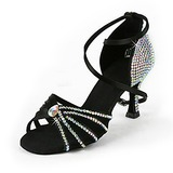 Satin Heels Latin Ballroom Wedding Party Dance Shoes With Rhinestone Ankle Strap