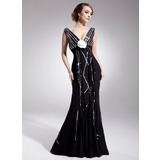 Empire V-neck Court Train Chiffon Charmeuse Mother of the Bride Dress With Beading Flower(s) Sequins Pleated