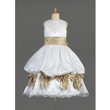 Empire Scoop Neck Tea-Length Satin Flower Girl Dress With Lace Sash Beading (010014610)
