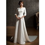 A-Line/Princess Off-the-Shoulder Chapel Train Satin Wedding Dress (002004779)