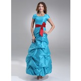 A-Line/Princess Square Neckline Floor-Length Taffeta Bridesmaid Dress With Ruffle Sash (007000958)
