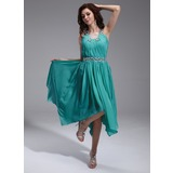 A-Line/Princess Square Neckline Asymmetrical Chiffon Tulle Homecoming Dress With Ruffle Beading (022010373)