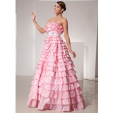 Ball-Gown Strapless Floor-Length Taffeta Prom Dress With Sash