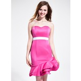 Sheath Sweetheart Asymmetrical Satin Bridesmaid Dress With Sash