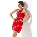 Sheath One-Shoulder Short/Mini Chiffon Homecoming Dress With Ruffle Beading