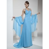 Sheath V-neck Watteau Train Chiffon Holiday Dress With Ruffle Beading