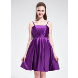 Empire Knee-Length Charmeuse Bridesmaid Dress With Ruffle