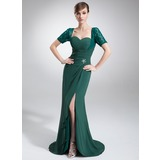 Sheath Sweetheart Asymmetrical Chiffon Lace Mother of the Bride Dress With Ruffle Beading