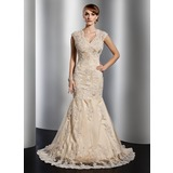Mermaid V-neck Court Train Satin Tulle Wedding Dress With Lace Beadwork (002014773)