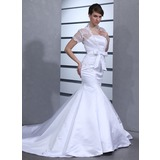 Mermaid Strapless Cathedral Train Satin Wedding Dress (002012701)