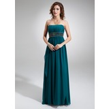 Empire Strapless Floor-Length Chiffon Prom Dress With Ruffle Beading