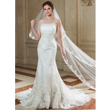 Mermaid Scalloped Neck Court Train Organza Wedding Dress With Ruffle Lace Beadwork