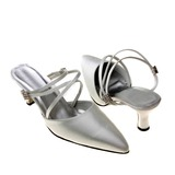 Women's Satin Closed Toe Pumps Slingbacks With Sparkling Glitter