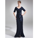 Trumpet/Mermaid Off-the-Shoulder Floor-Length Chiffon Charmeuse Mother of the Bride Dress With Ruffle Beading