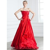 A-Line/Princess Strapless Floor-Length Taffeta Organza Quinceanera Dress With Ruffle Beading