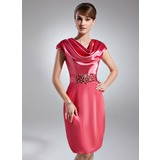 Sheath Cowl Neck Knee-Length Charmeuse Cocktail Dress With Ruffle Beading (016021262)