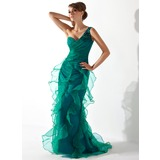 Trumpet/Mermaid One-Shoulder Sweep Train Organza Mother of the Bride Dress With Ruffle Beading