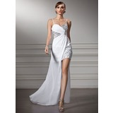 Sheath/Column Sweetheart Asymmetrical Chiffon Prom Dress With Ruffle Beading