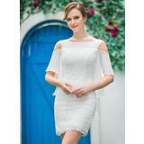 Sheath/Column Off-the-Shoulder Short/Mini Lace Wedding Dress With Cascading Ruffles