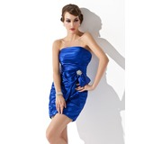 Sheath Strapless Short/Mini Charmeuse Cocktail Dress With Ruffle Crystal Brooch