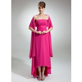 Empire Strapless Asymmetrical Chiffon Bridesmaid Dress With Ruffle