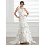 Trumpet/Mermaid One-Shoulder Court Train Satin Tulle Wedding Dress With Lace Beading Flower(s)