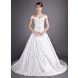 Ball-Gown Off-the-Shoulder Chapel Train Satin Tulle Wedding Dress With Embroidery Beadwork Sequins (002012813)