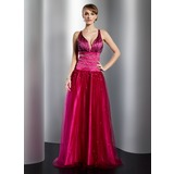 A-Line/Princess V-neck Floor-Length Satin Tulle Prom Dress With Beading