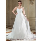 Empire Sweetheart Chapel Train Chiffon Tulle Wedding Dress With Ruffle Appliques Lace