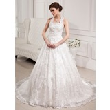 Ball-Gown Halter Chapel Train Satin Lace Wedding Dress With Beading Sequins