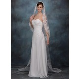 Chapel Veils Tulle One-tier Lace Applique Edge Wedding Veils With Classic (006020337)