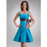 A-Line/Princess Square Neckline Knee-Length Taffeta Bridesmaid Dress With Sash