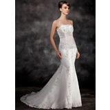 Mermaid Court Train Organza Wedding Dress With Lace Beadwork Sequins