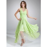 A-Line/Princess Halter Asymmetrical Chiffon Tulle Holiday Dress With Ruffle Beading Appliques Sequins (020036568)