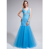 Trumpet/Mermaid V-neck Floor-Length Tulle Lace Prom Dress With Appliques Sequins