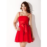 A-Line/Princess Short/Mini Chiffon Charmeuse Homecoming Dress With Ruffle Bow(s)