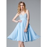 Empire Sweetheart Knee-Length Chiffon Homecoming Dress With Beading Sequins (022004621)