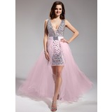 Sheath V-neck Asymmetrical Chiffon Tulle Prom Dress With Beading
